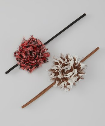Brown Zebra & Red Leopard Shabby Flower Headband Set