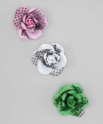 White, Pink & Grass Green Rose Clip Set