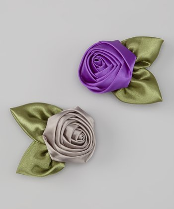 Regal Purple & Silver Satin Rosette Clip Set