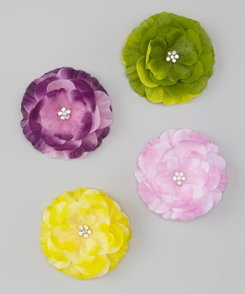 Garden Beauties Glitter Rhinestone Flower Clip Set