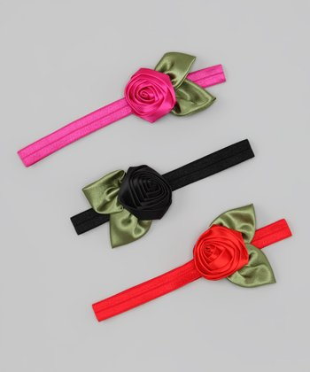Pink, Red & Black Rose Headband Set