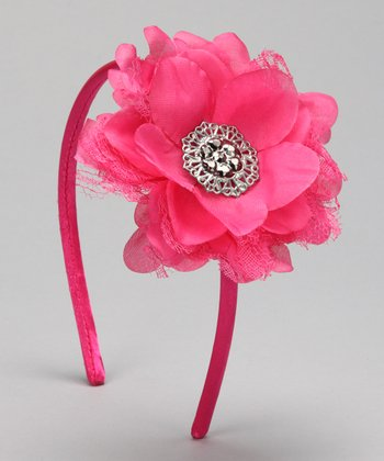 Shocking Pink Vintage Flower Headband