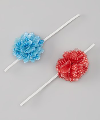 Cherry Red & Aqua Polka Dot Flower Headband Set