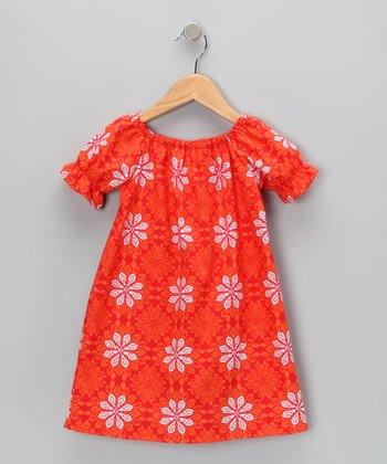 Orange Medallion Peasant Dress - Girls