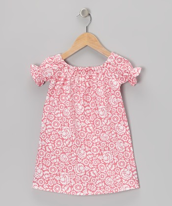 Pink & White Floral Peasant Dress - Infant & Toddler