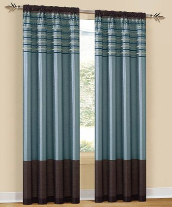 Blue Cityscape Curtain Panel - Set of Two