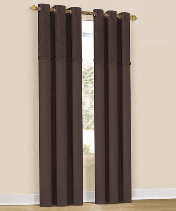 Chocolate Annecy Curtain Panel - Set of Two