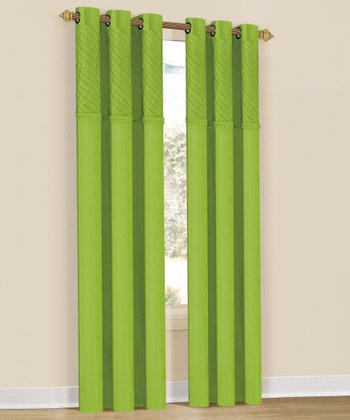 Lime Annecy Grommet Curtain Panel - Set of Two