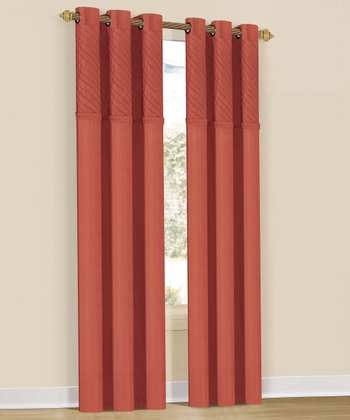 Orange Annecy Grommet Curtain Panel - Set of Two