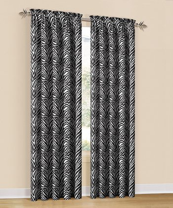 Black & White Zeek Rod Pocket Curtain Panel - Set of Two