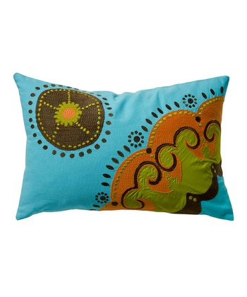 Blue Medallion Coptic Throw Pillow