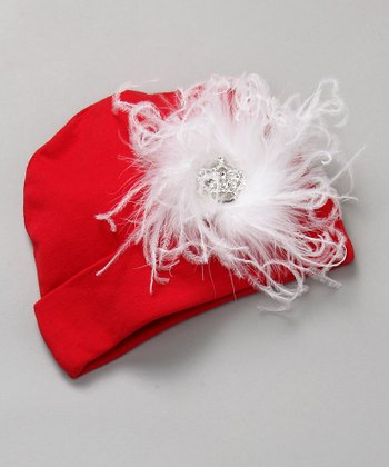 Red & White Ostrich Beanie with Crown