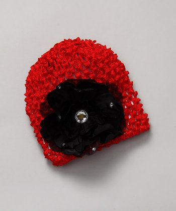 Red & Black Crochet Flower Beanie