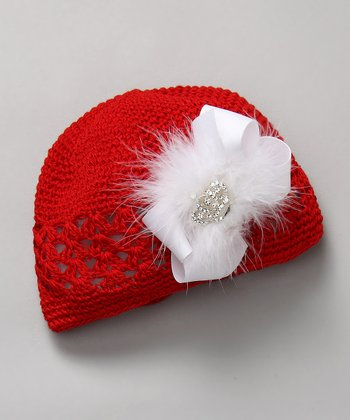 Red & White Crochet Beanie with Crown