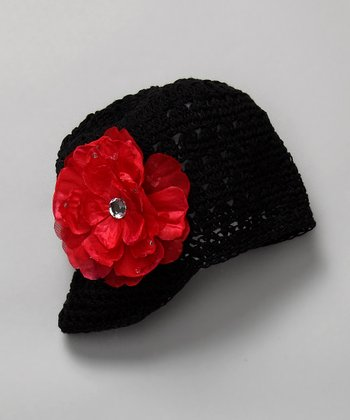 Red & Black Newsboy Beanie with Flower