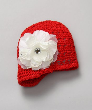 Little Diva - Red & White Newsboy Beanie with Flower