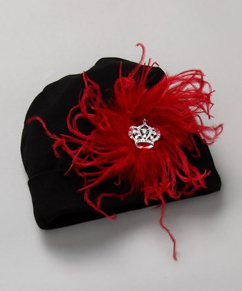 Red & Black Ostrich Beanie with Crown