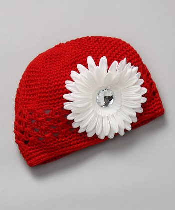 Red & White Crochet Flower Beanie