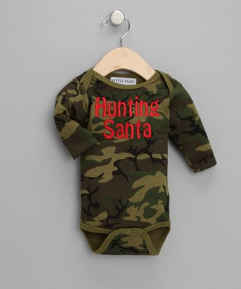 Green Camo 'Hunting Santa' Bodysuit - Infant