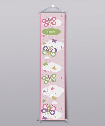 Pink & White Butterflies Personalized Growth Chart