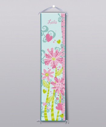 Pink & Green Flowers Personalized Growth Chart
