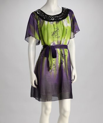 Purple Abstract Embellished Dress