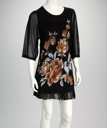 Brown & Black Floral Dress