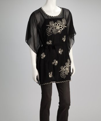 Black Embroidered Chiffon Top