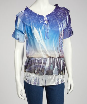Blue Scene Sublimation Blouson Top