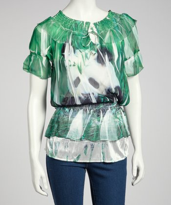 Green Panda Sublimation Blouson Top