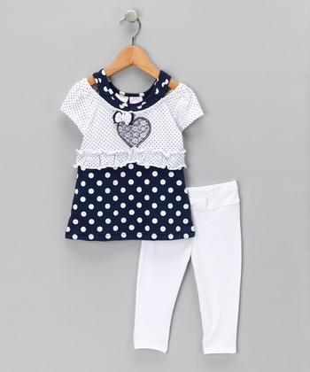 Nannette White Polka Dot Layered Tunic & Leggings - Infant