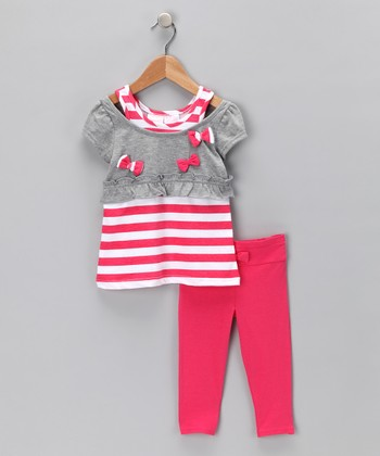Pink Stripe Layered Tunic & Leggings - Infant