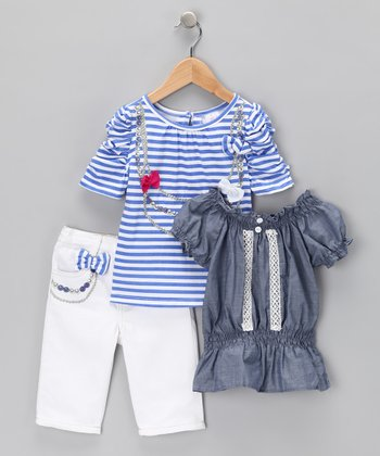 White & Blue Stripe Bow Tee Set - Infant