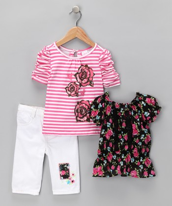 White Floral Patch Tee Set - Infant, Toddler & Girls