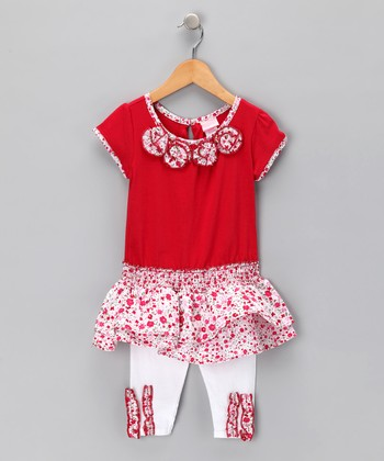 Red Floral Rosette Tunic & Leggings - Infant & Toddler