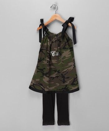 Camo Monogram Swing Dress & Leggings - Infant, Toddler & Girls