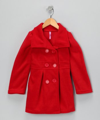 Red Peacoat - Toddler & Girls