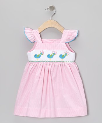 Pink Stripe Bird Smocked Ruffle Dress - Infant, Toddler & Girls