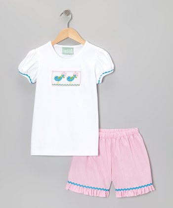 White Bird Tee & Pink Stripe Shorts - Infant, Toddler & Girls
