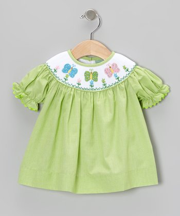 Green Gingham Butterfly Bishop Dress - Infant, Toddler & Girls