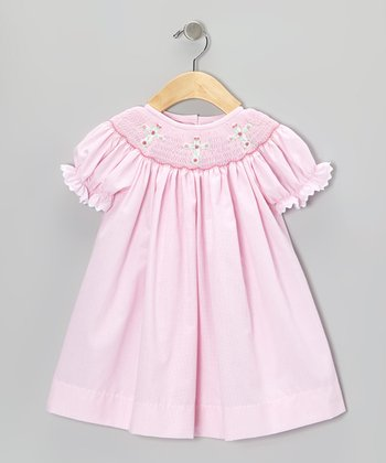 Pink Gingham Cross Bishop Dress - Infant & Toddler