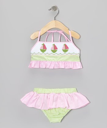 Pink Gingham Sailboat Smocked Bikini - Infant, Toddler & Girls