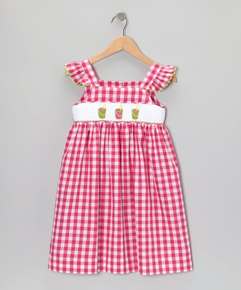 Red Gingham Sand Pail Smocked Sundress - Infant, Toddler & Girls