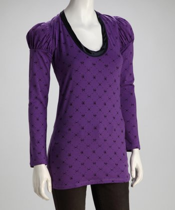 Purple 'Mixed Urban Culture' Hooded Tunic - Women