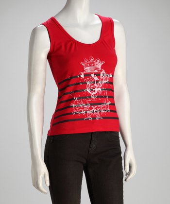 Red & Black Stripe Sparkling Crest Tank - Women