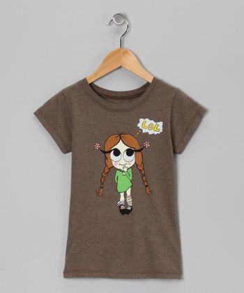 Brown 'Lol' Girl Tee - Toddler & Girls