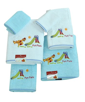 White & Aqua Embroidered 'Fun Park' Towel Set
