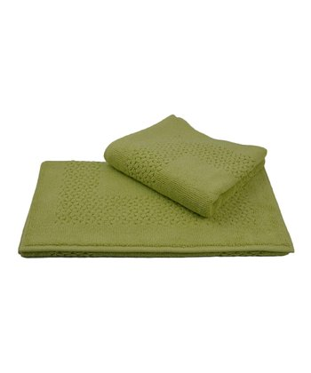 Green Jacquard Mei-Tal Bath Mat - Set of Two