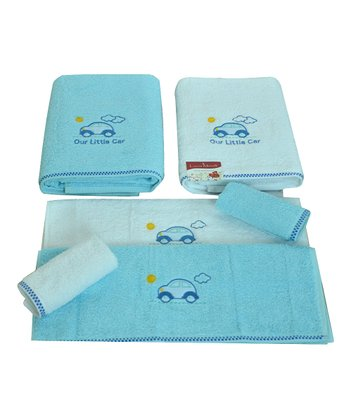 White & Aqua Embroidered Car Towel Set