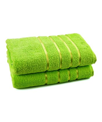 Bright Green Luxury Bath Towel - Set of Two